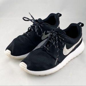 Nike Roshe Black Swarowki Swoosh DIY Sneakers